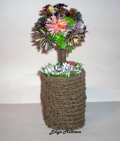 самодельное дерево из цветов