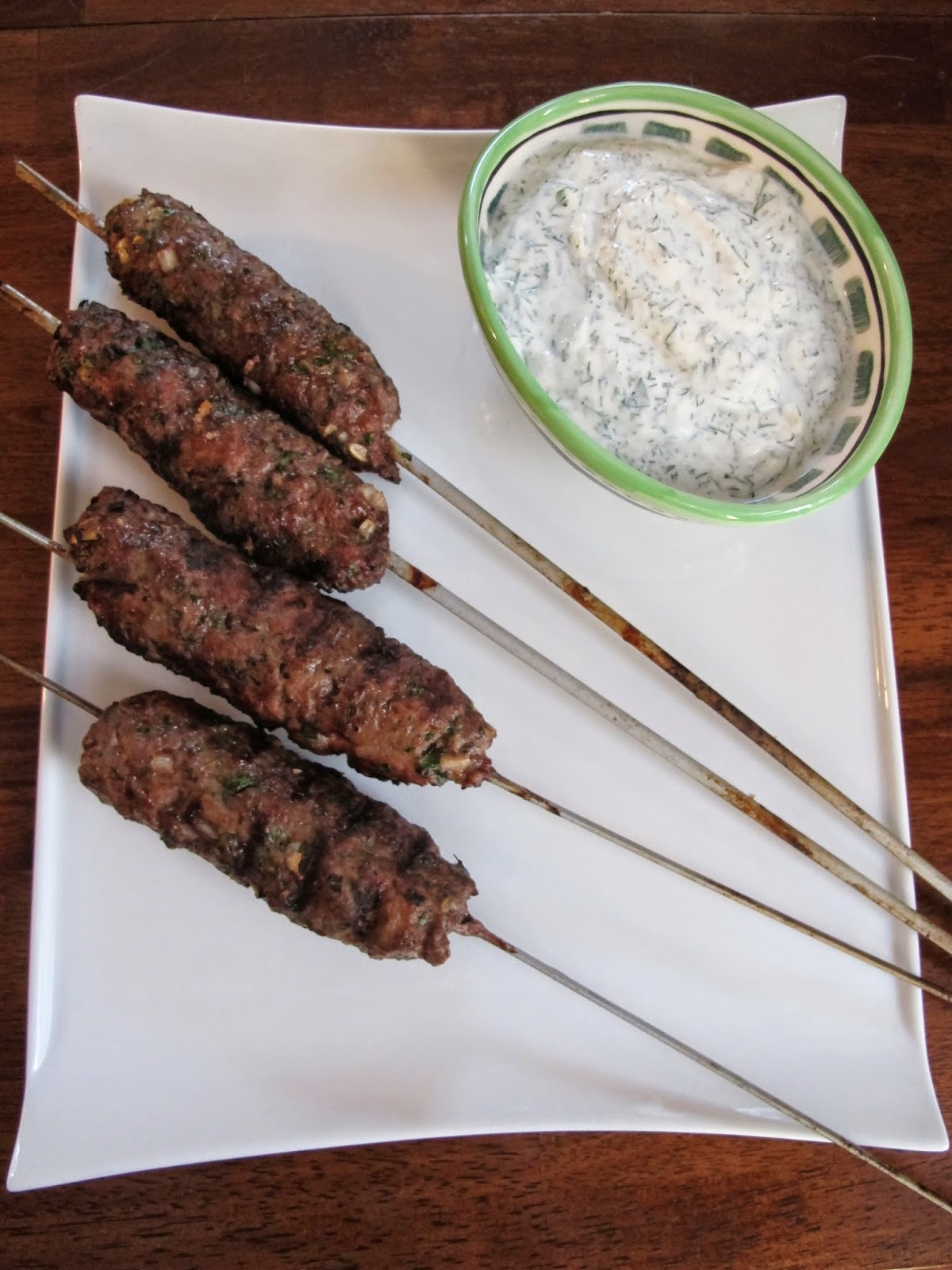 Grilled Lamb Beef Kofta with Greek Yogurt Sauce