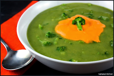 creamy broccoli soup with red pepper crème: healthy & green for souper (soup, salad & sammie) sundays