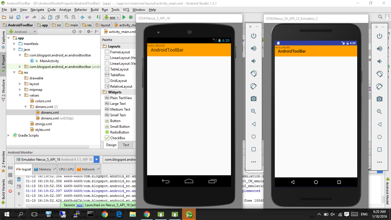 android studio preview not showing toolbar