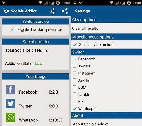 Socials Addict, Socials Addict android app, Social Media, Social Network Addiction, Track How Much Time You Waste on   Social Media, Manage Social Network Addiction