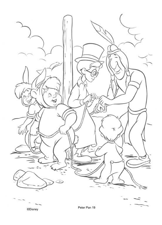 a desenhar peter pan e os indios colorir