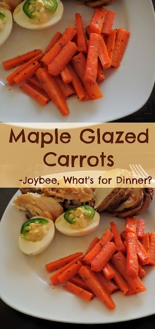 Maple Glazed Carrots:  A simple and tasty vegetable side dish of carrots roasted in maple syrup.  The perfect accompaniment to any meal.