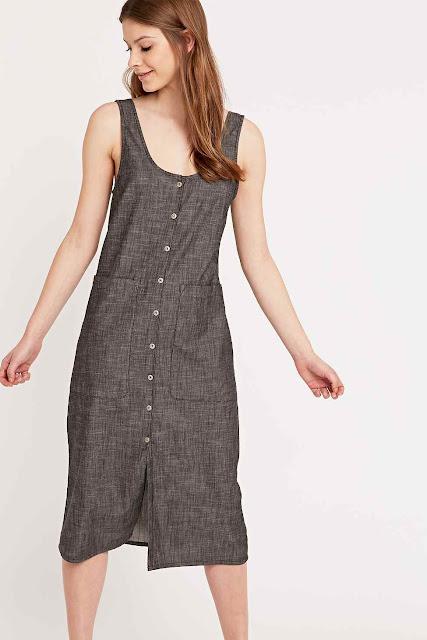 grey denim button dress, BDG grey dress,