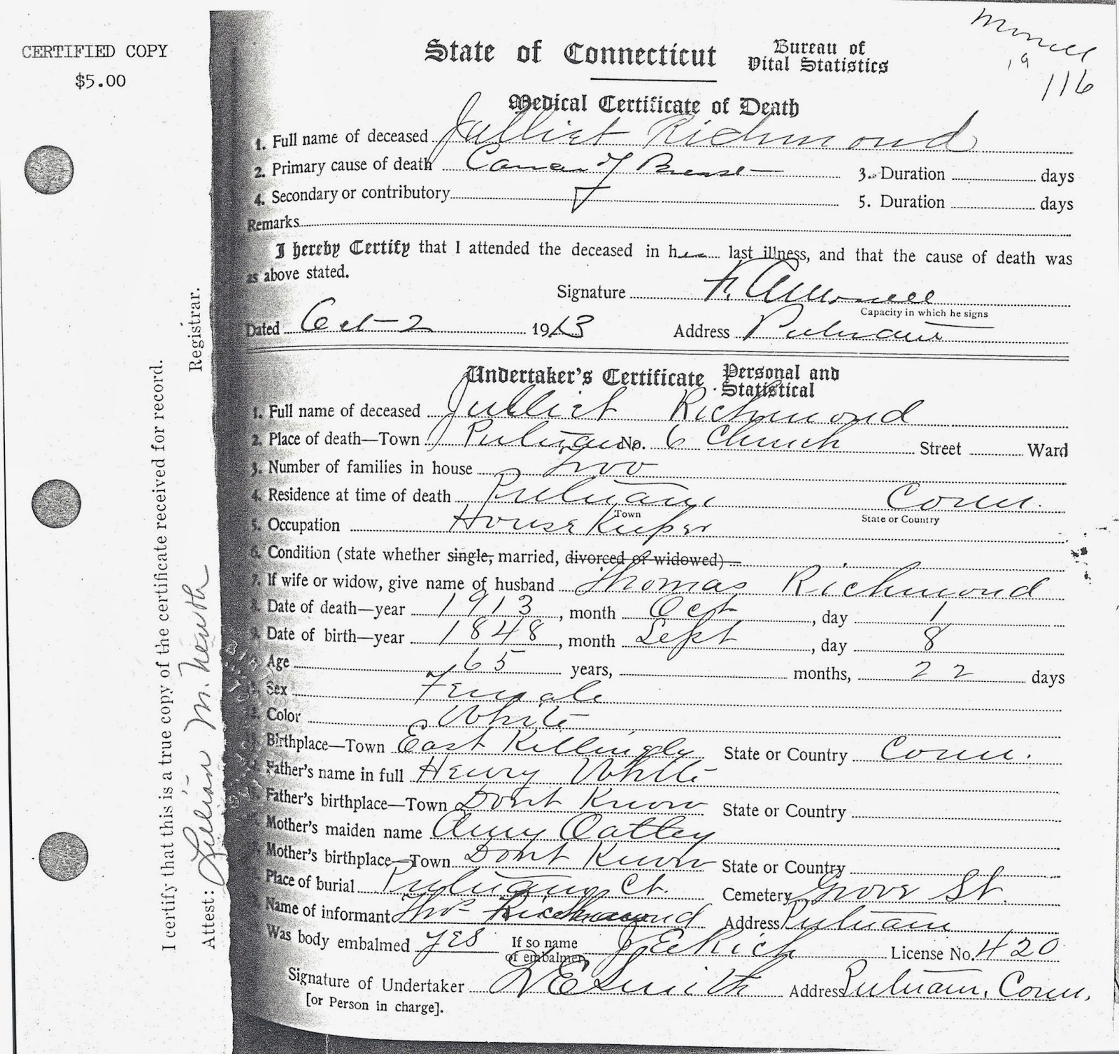 Connecticut Towns Birth Certificate Death Record Inducedfo