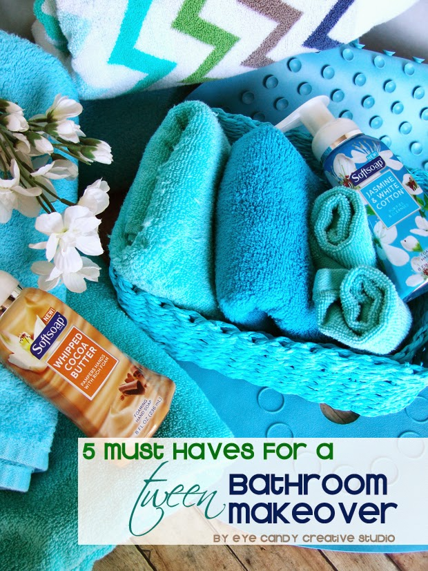 Tween Bathroom, softsoap, bath towels, tween bathroom makeover