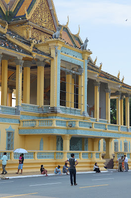 Death of King Norodom Sihanouk, empty frame on front of Royal Palace, Phnom Penh, Cambodia