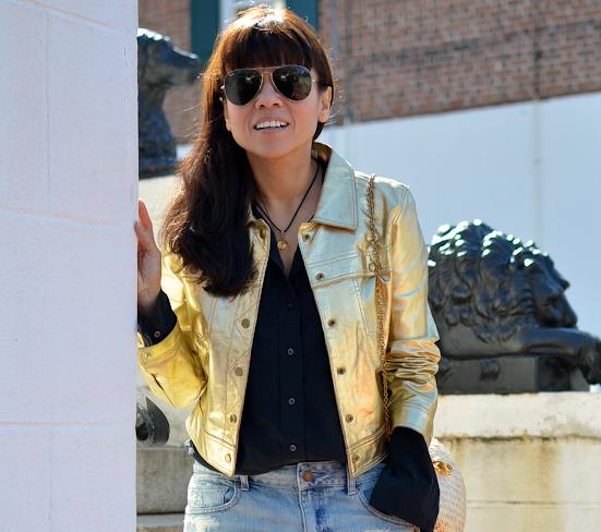 Metallic jacket street style