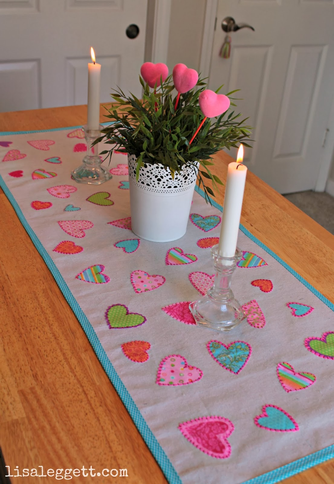 Appliqued Heart Table Runner