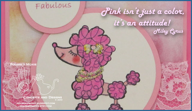 Picture of portion of my handmade pink poodle card with a Miley Cyrus quote.