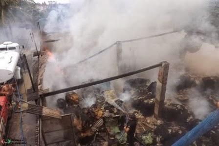 Fabrica de barbante pega fogo em Limoeiro e assusta moradores