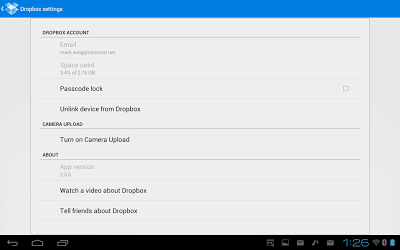 DropBox for Android - Settings