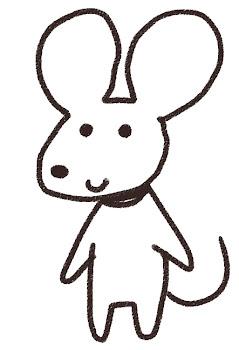 ネズミのイラスト(子年・干支)線画