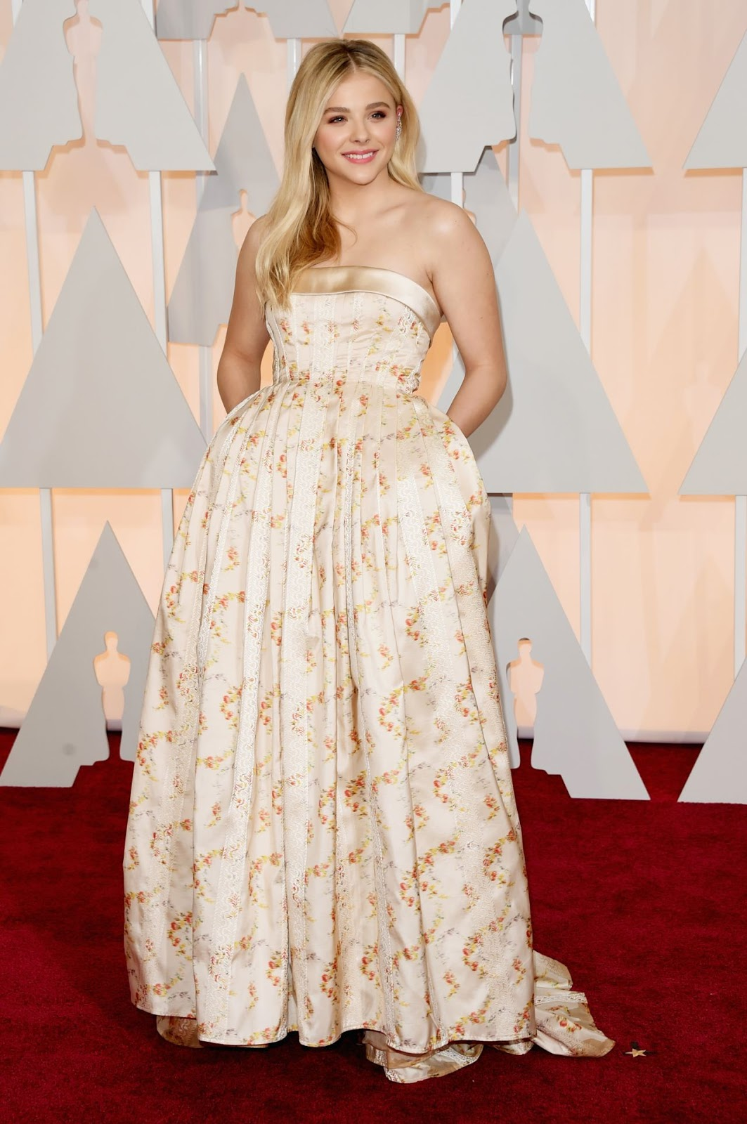 Chloe Moretz wears a strapless Miu Miu gown to the 2015 Oscars in Hollywood