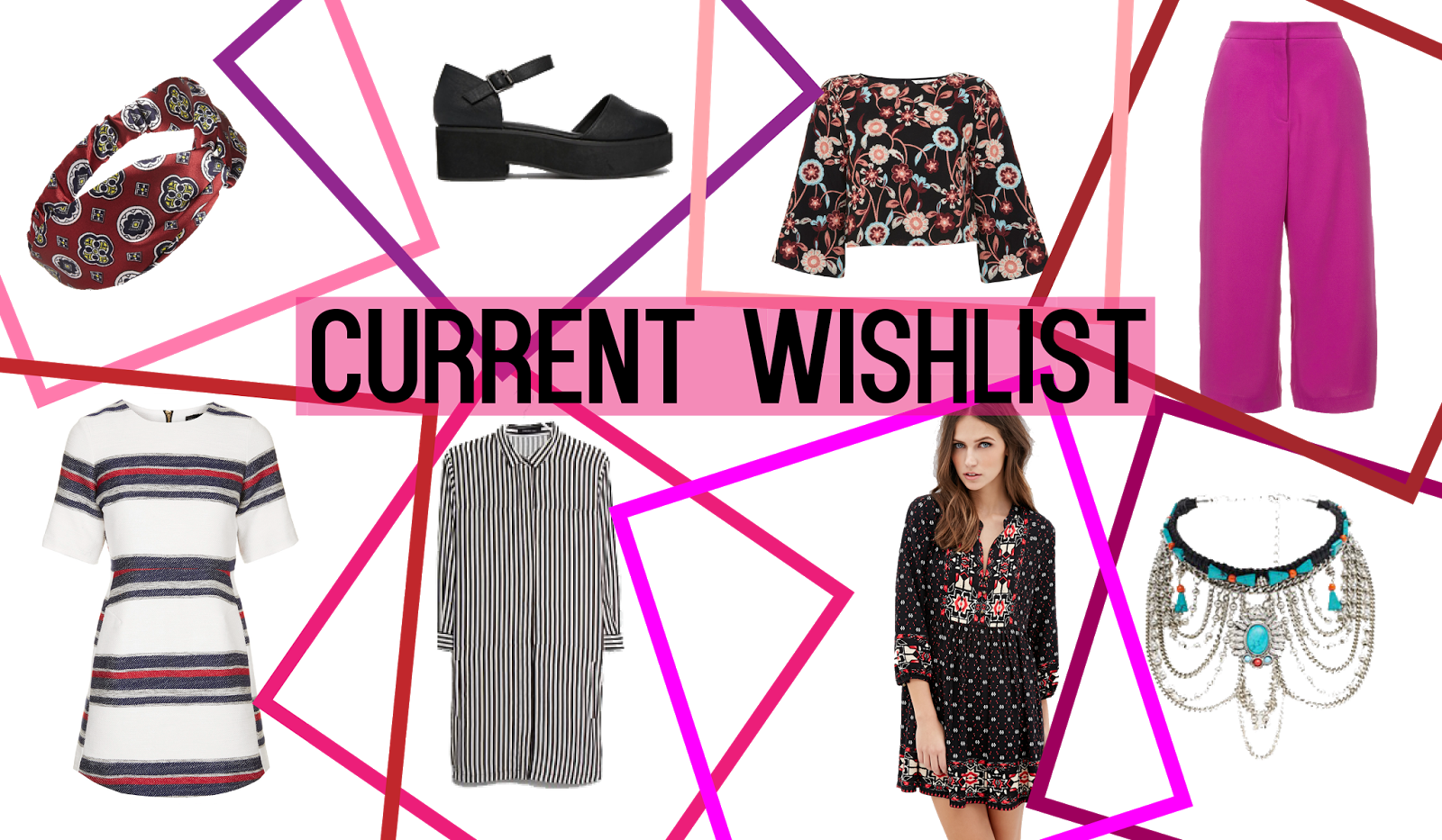 current wishlist; satin bohemian print headband, black faux leather closed toe flatforms, embroidered floral top with bell sleeves, pink wide leg cropped trousers, draped turquoise stone silver choker, bohemian print folk dress, black and white striped shirt dress and white, red and navy striped skater dress