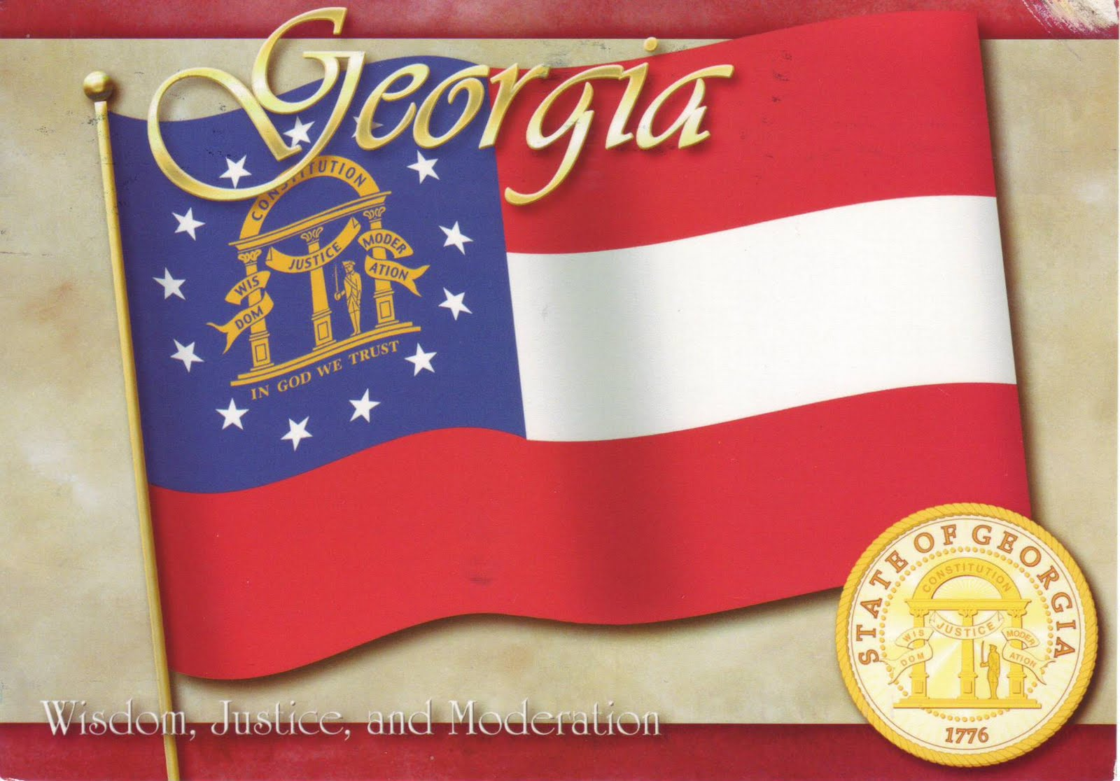 a new card for my us map and flag collection georgia was the 4th state admitted to the united states on january 2 1788 the postcard was sent by naomi