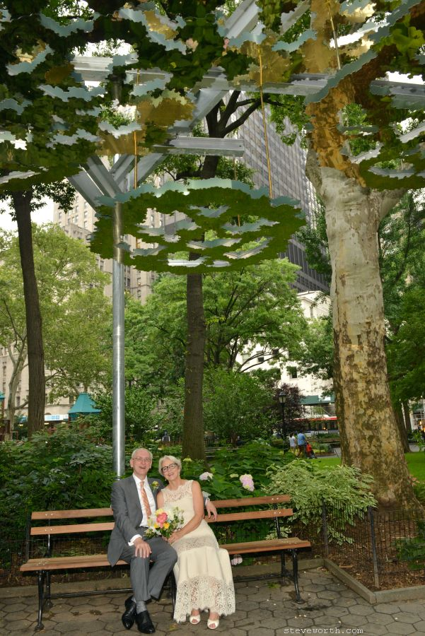 Bride and Groom under Fata Morgana in Madison Sq Park