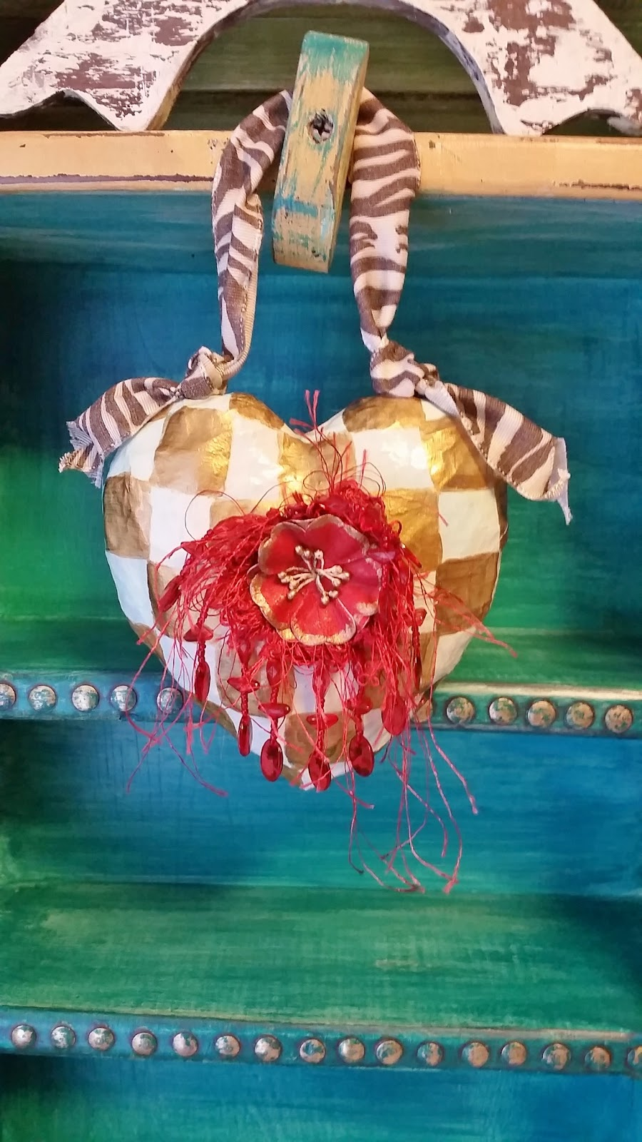 checked paper mache heart ornament