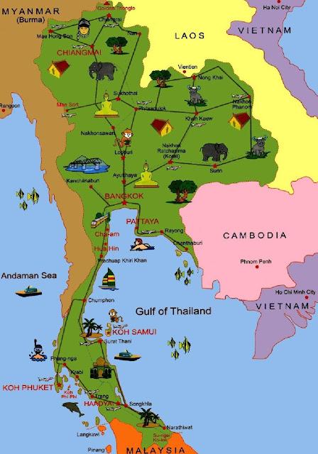 Таиланд карта достопримечательностей