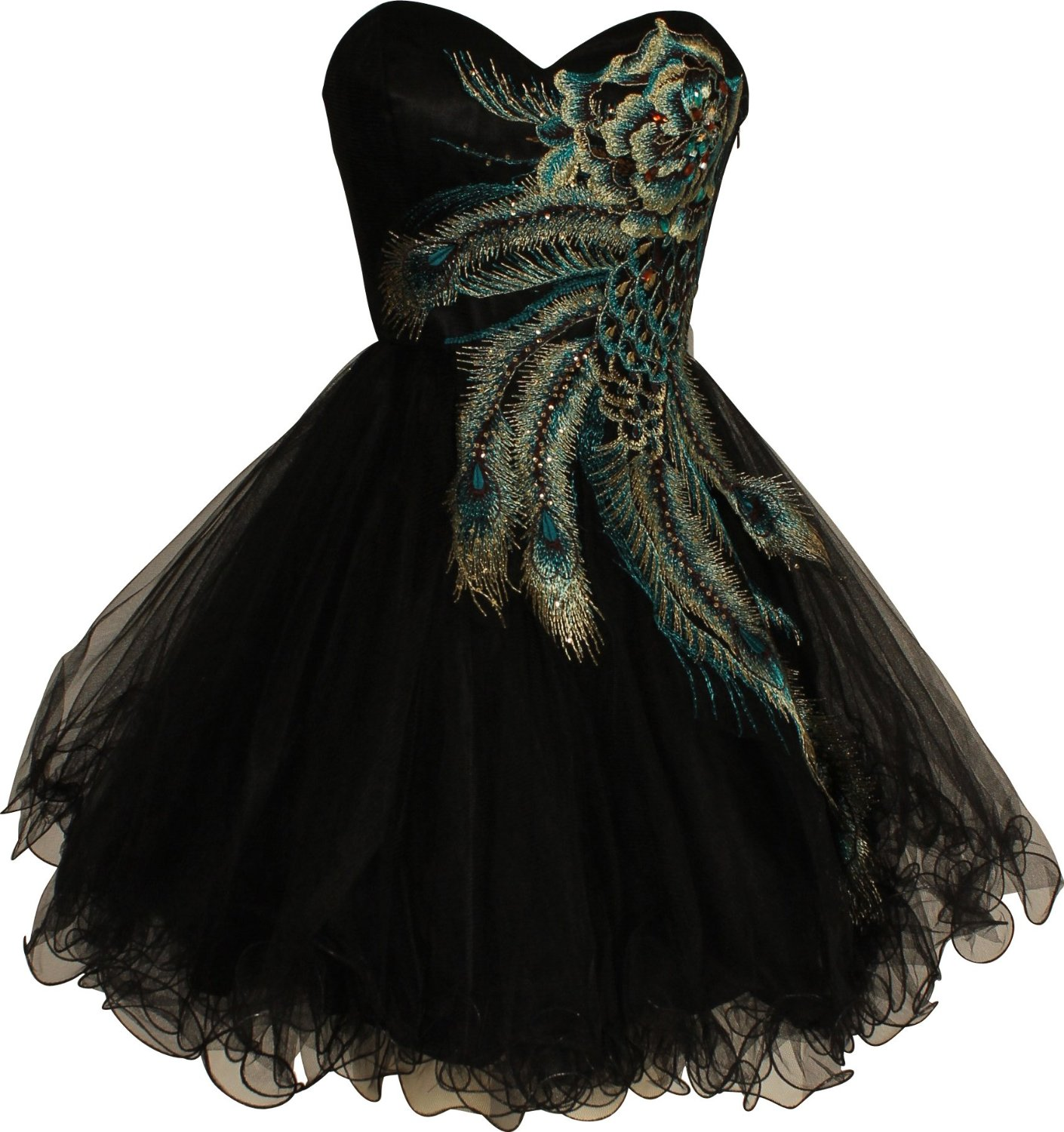 Embroidered holiday party prom dresses junior plus size peacock dress