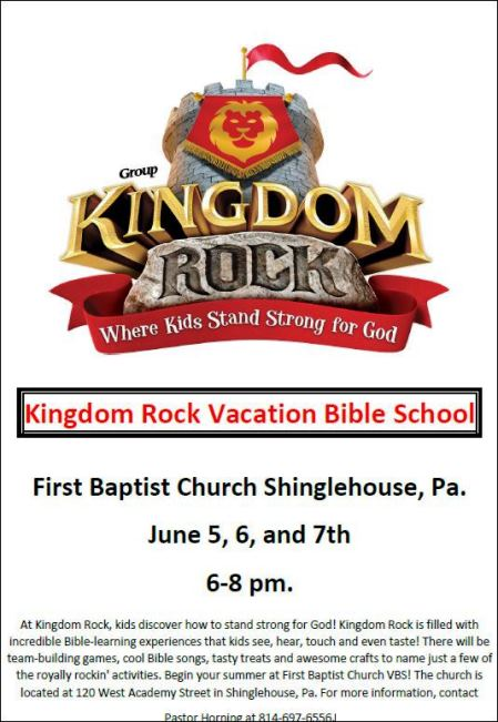 6-5/6/7 Vacation Bible School Shinglehouse.