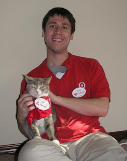 Cat wearing Target uniform