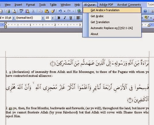 Quran Plugins for MS Word
