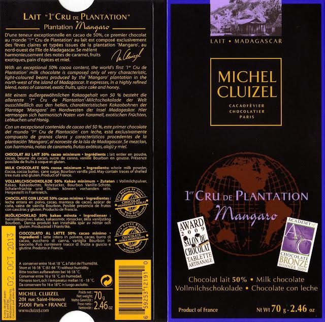 tablette de chocolat lait dégustation michel cluizel lait 1er cru de plantation mangaro