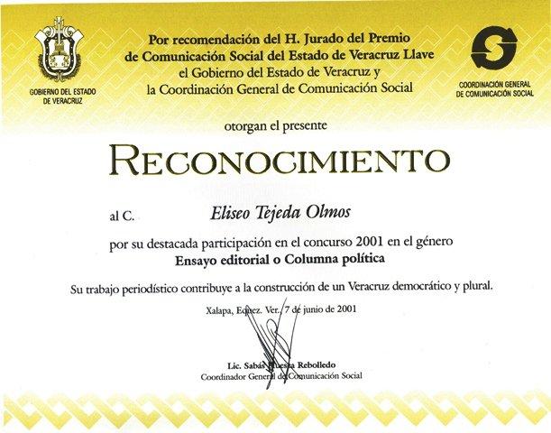 Reconocimiento a Eliseo Tejeda Olmos
