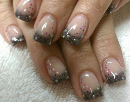 acrylic gel backfill, color change with multi custom mix silvers and blacks; multi dotting for design -French- Gel-Nails-Polish-LED-Polish-LED-Nails-Acrylic-Nails-Nail-Art