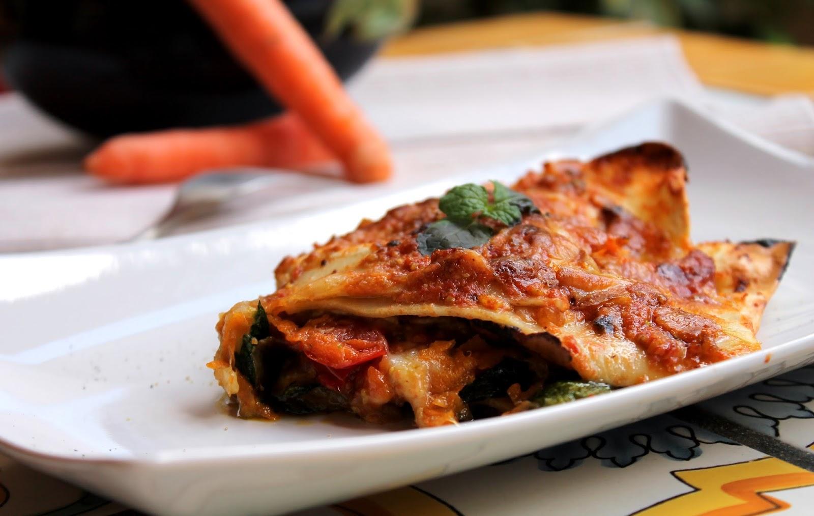 Lasagnette con verdure, pomodorini e pesto di pistacchio