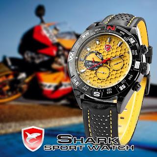 Hot Sale Shark Fashion Military Date Day Black Leather Sport Quartz Watch + Box