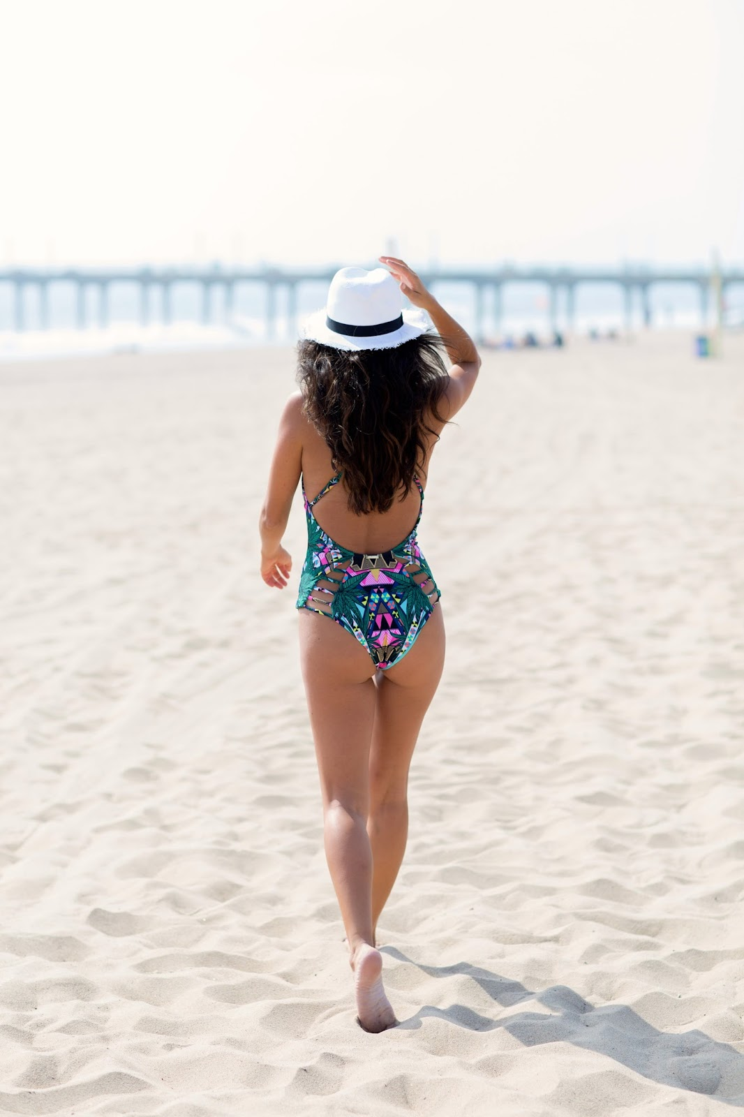 Mara Hoffman flattering one-piece, Mindy Kaling one-piece, Manhattan Beach, Summer Swimwear
