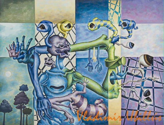 Ventrílocuo, (Óleo sobre lienzo). / Der Bauchredner, (Öl auf Leinwand).