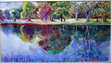 arts painting reflection bobbybyron Painting reflections in still  of watercolours and pastels by jenny keal and myself at the wyeside arts centre in builth  of flower paintings,.