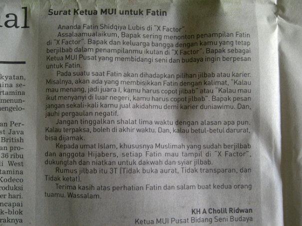 Surat Ketua MUI Untuk Fatin Shidqiya Lubis