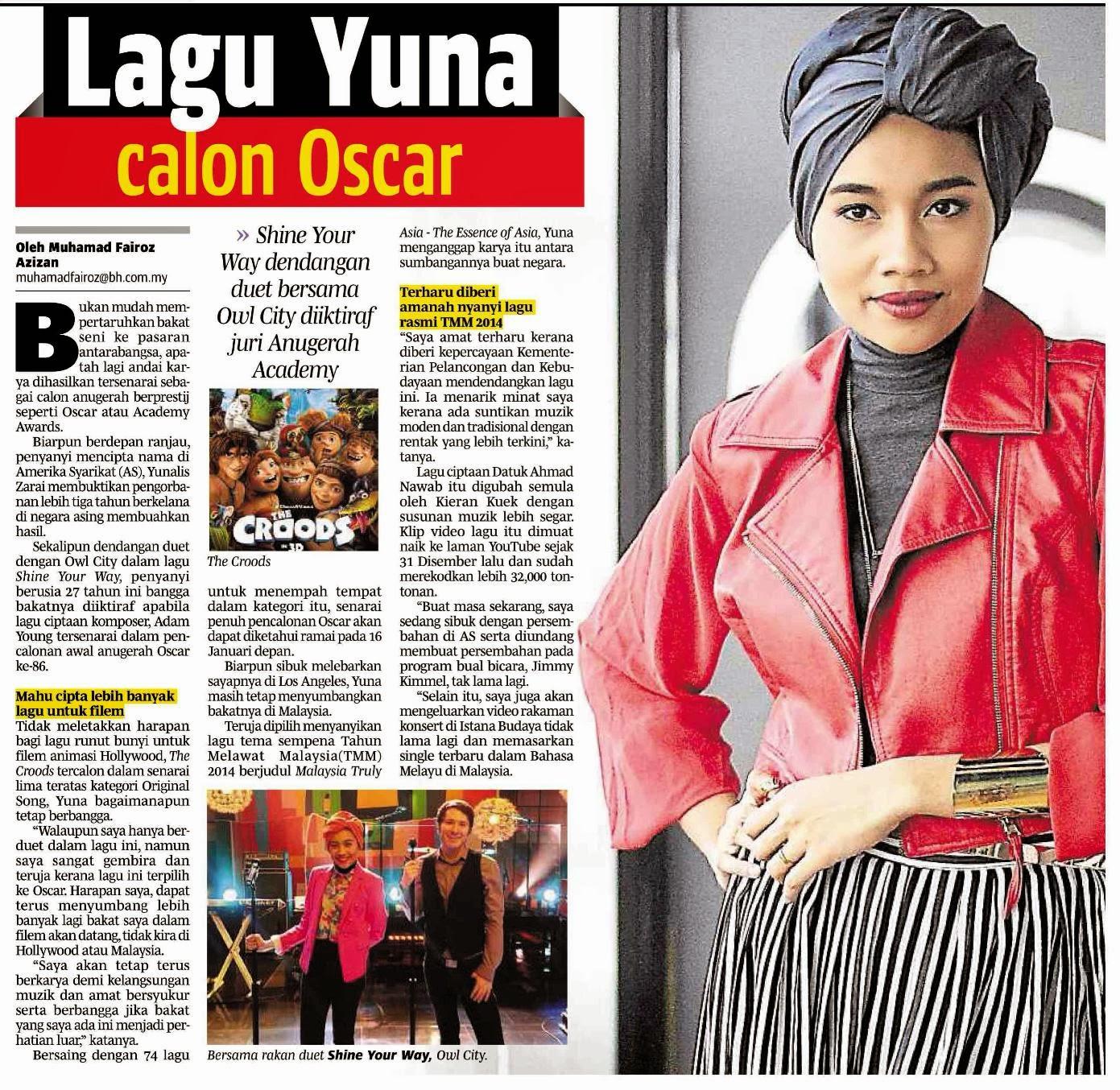 Lagu Duet Nyanyian Yuna Ke Pencalonan Awal Anugerah Oscar