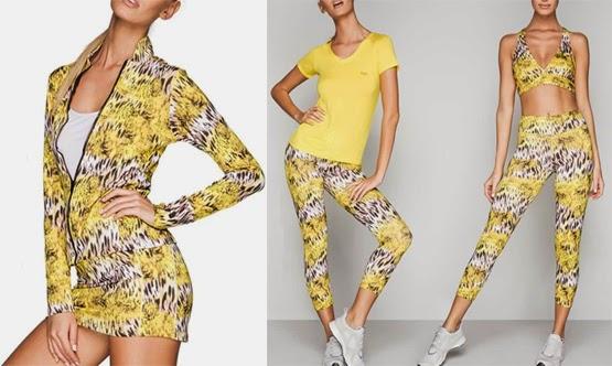 Lança Perfume coleção moda fitness jaqueta calça leggings top