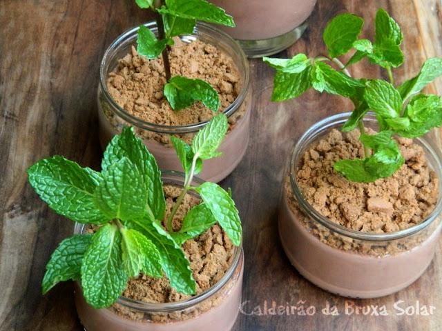 pudim de chocolate vasinho de planta
