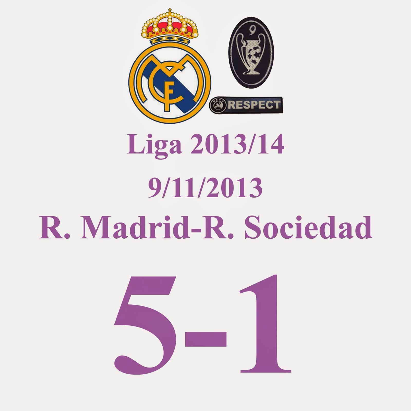 Real Madrid 5 - 1 Real Sociedad - (Jornada 13) 9/11/2013 - Nuevo Hat-Trick de C. Ronaldo