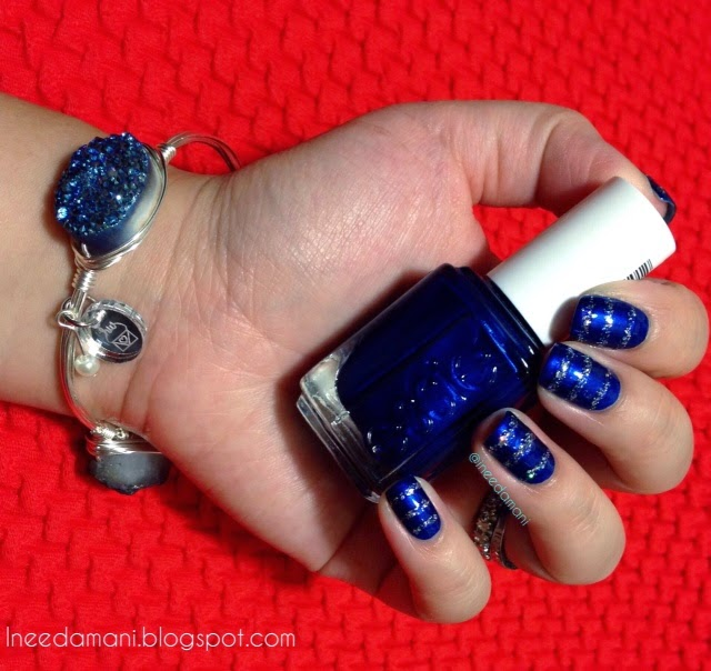 essie aruba blue and silver glitter striped nails