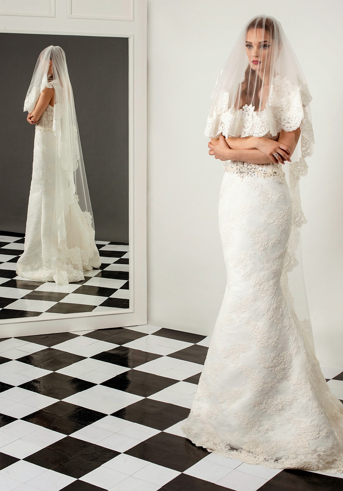 2015 bridal veil with lace embroidery by bien savvy