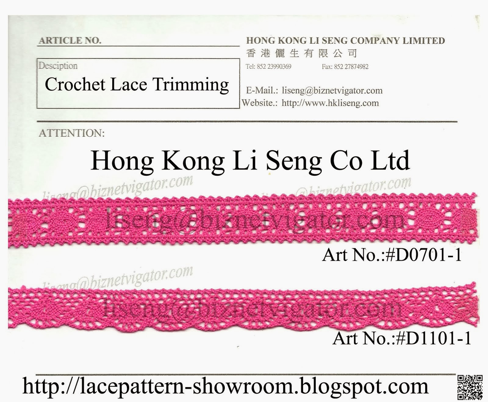 New Crochet Lace Pattern - Hong Kong Li Seng Co Ltd