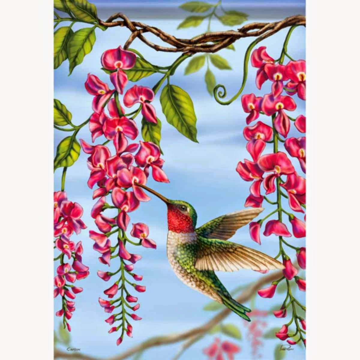 floral hummingbird garden flag