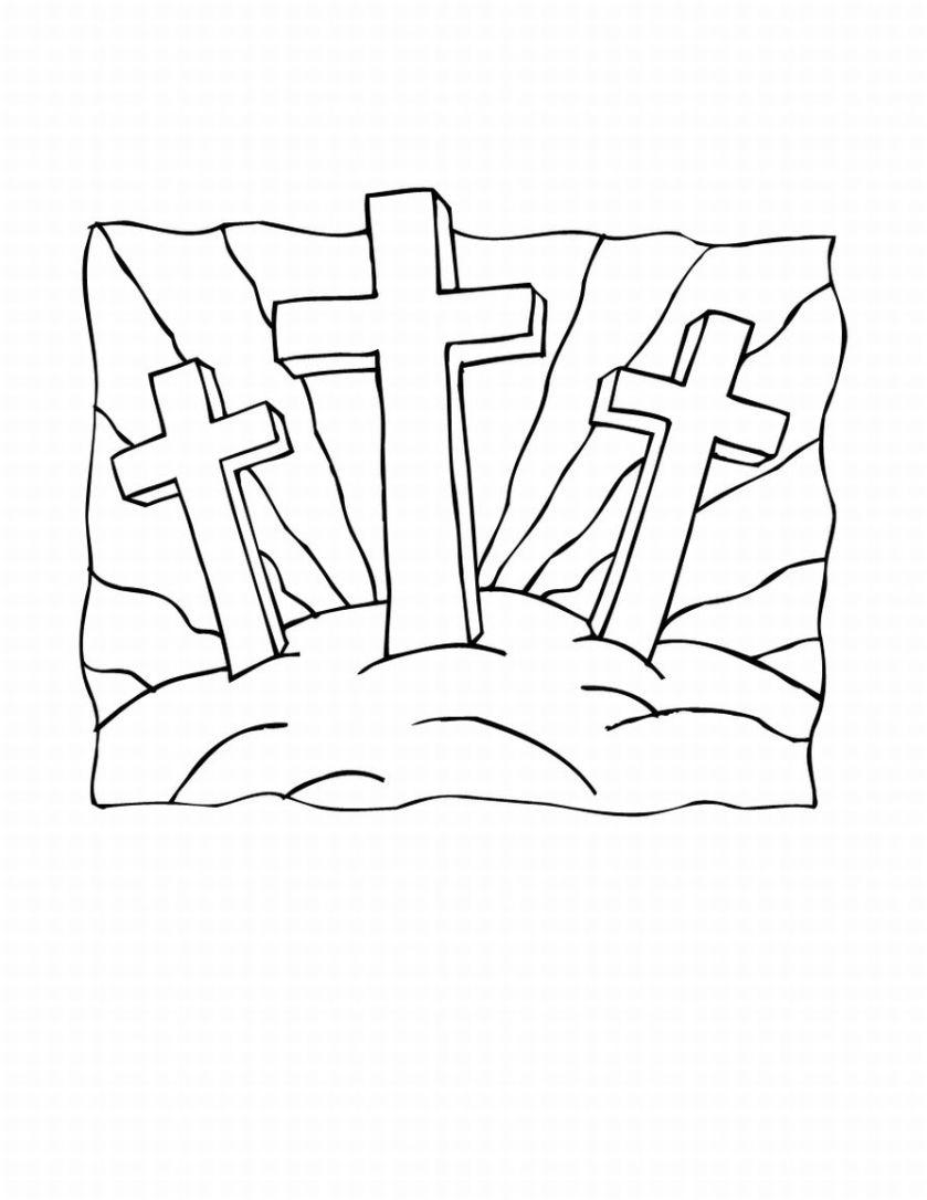 Tres Cruces para colorear ~ Dibujos Cristianos Para Colorear