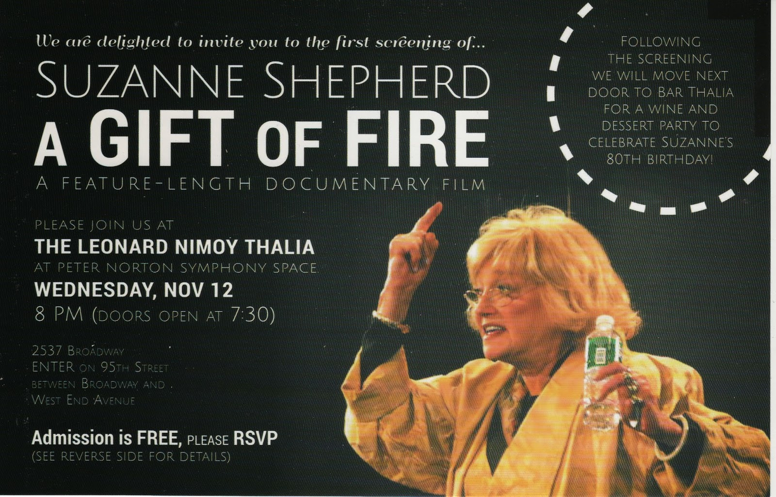 "A documentary film I edited, ""Suzanne Shepherd: A Gift of Fire"" debuted last week in New York City. The film is about Suzanne Shepherd, a gifted character ..."
