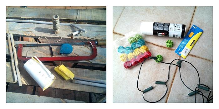 cómo hacer una escalera de cañas- materiales