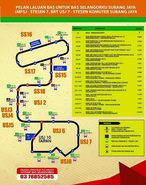 USJ Subang Jaya Free Bus Service Route