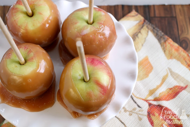 These easy to make Scary Salted Caramel Apples are the perfect sweet treat for a fall get-together or Halloween party. #ad
