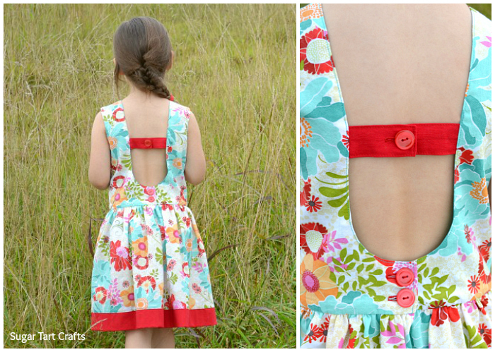 Girl's open-backed dress pattern - The Matinee Dress and Peplum Top by Jennuine Design